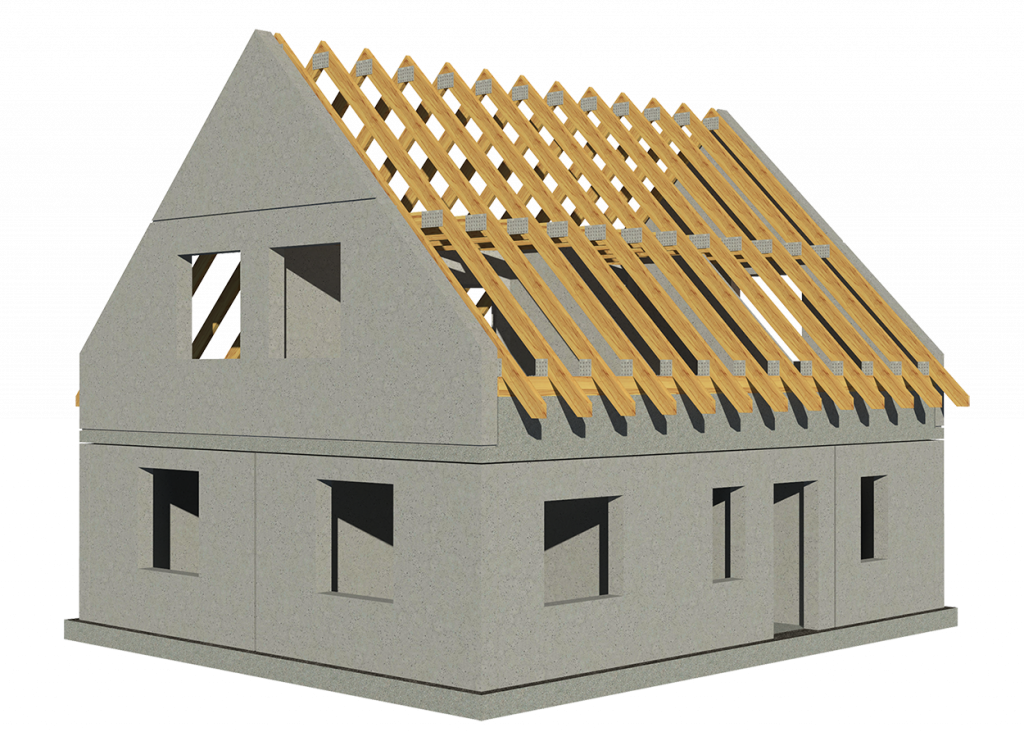 Ausbaustufe BASIC des Einfamilienhaus 140 mit Dachgeschoss aus Blähton